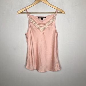 Pink white lace blouse